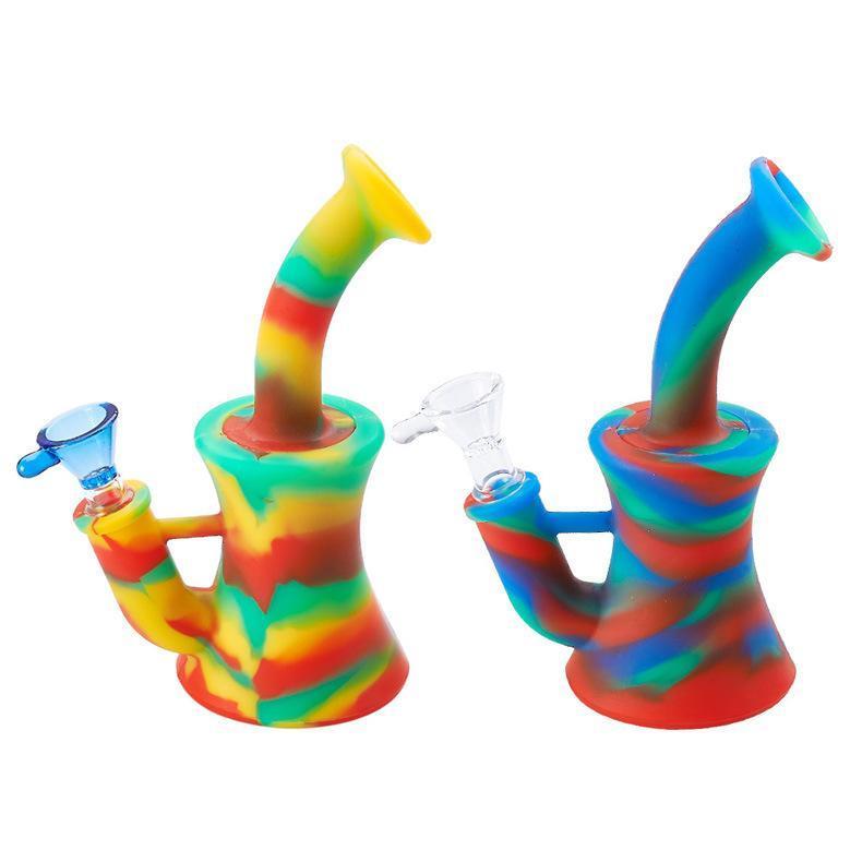 Rig Mini Beaker silicone Bong Dab Rigs tubo di acqua Bong Unbreakable olio con Downstem silicone 14 millimetri ciotola di vetro in magazzino FY2263