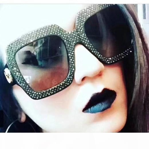 Lusso 0048 occhiali da sole Grande Struttura elegante del progettista speciale con Diamante incorporati nella cornice circolare Lens superiore prossimo con il caso