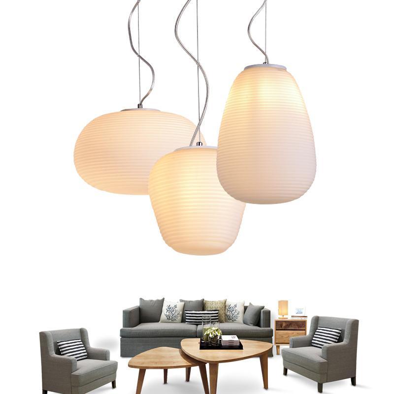 Modern Beyaz Globe Cam Başlık 1-Işık LED Işık Kolye Uzun Yemek Odası Tavan Odası Armatür PA0343