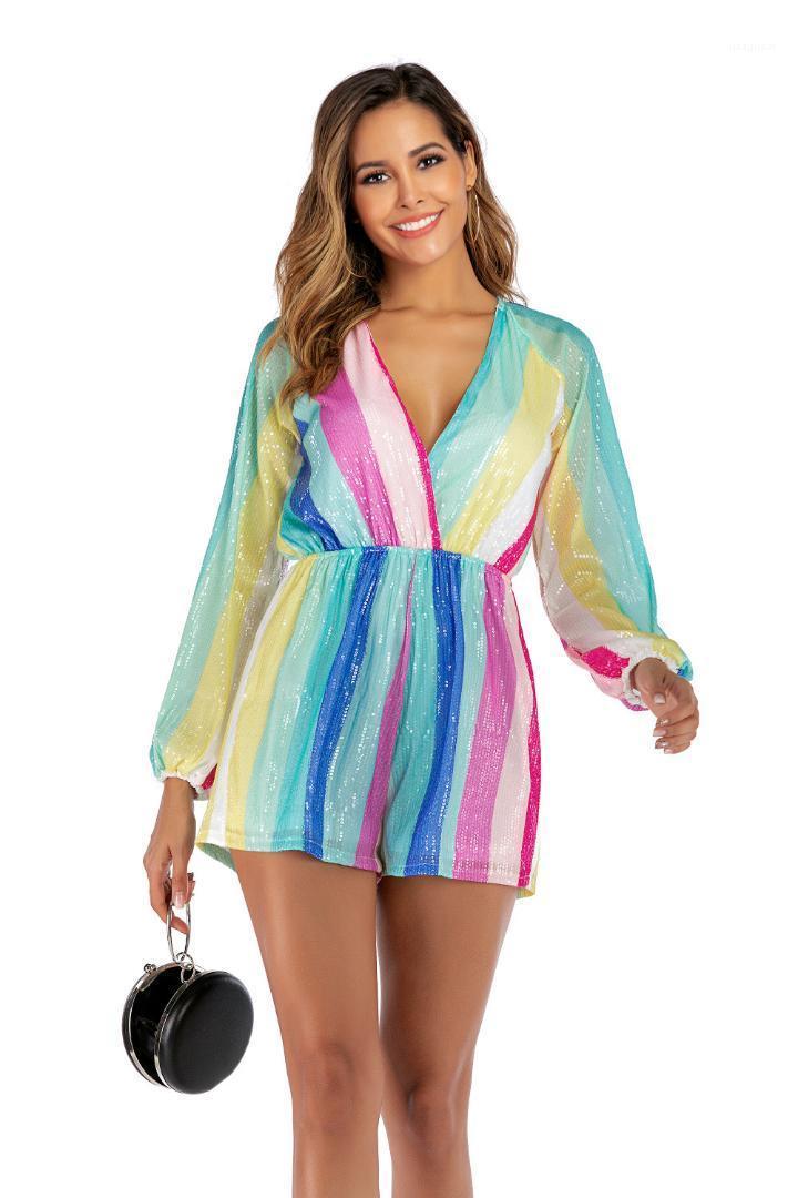 Lantejoulas arco-íris Mulheres Casual macacãozinho Summer Long luva frouxo Ladies V Neck mulheres macacões roupas listradas