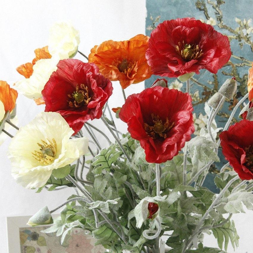 5Pcs Artificial big Poppy flower with leaves fleurs artificielles for autumn fall Home party Decoration wreath fake silk flowers c8dZ#