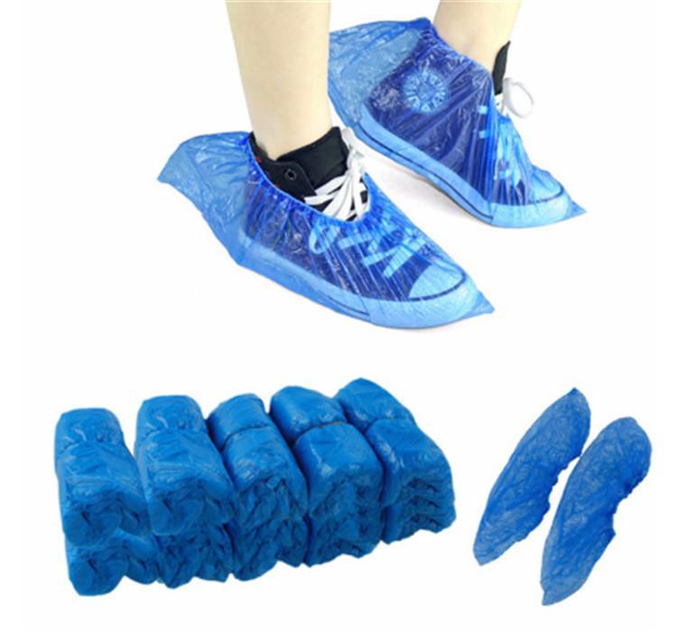 Kunststoff Wasserdichte Einwegüberschuhe Regen Tag Fußboden-Schutz Blau Reinigungsschuh Überschuhe für Zuhause