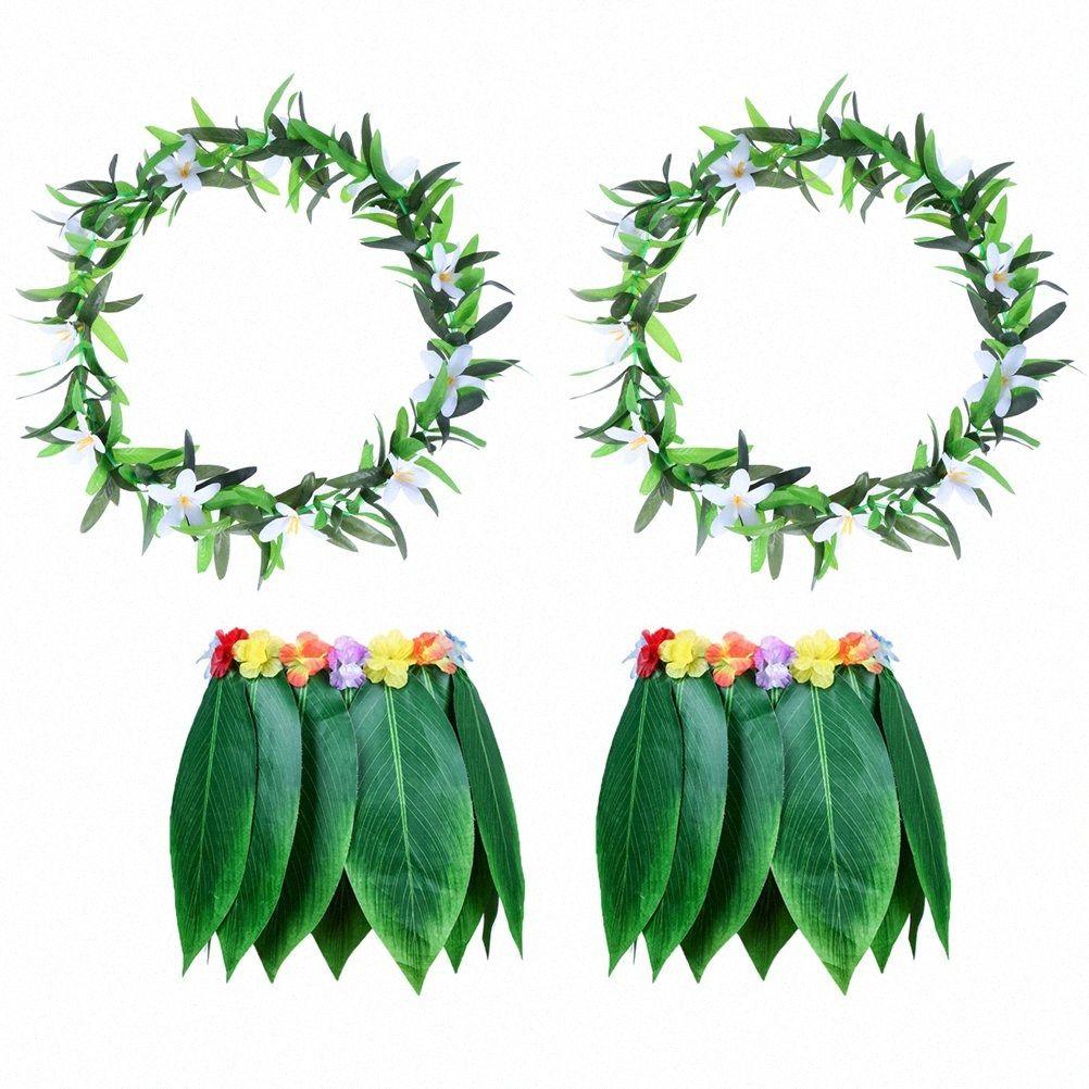 4PCS spiaggia tropicale vestiti costume hawaii Grass Skirt Foglie Gonna Dance with Garland per Luau partito Festival Traval EZbx #
