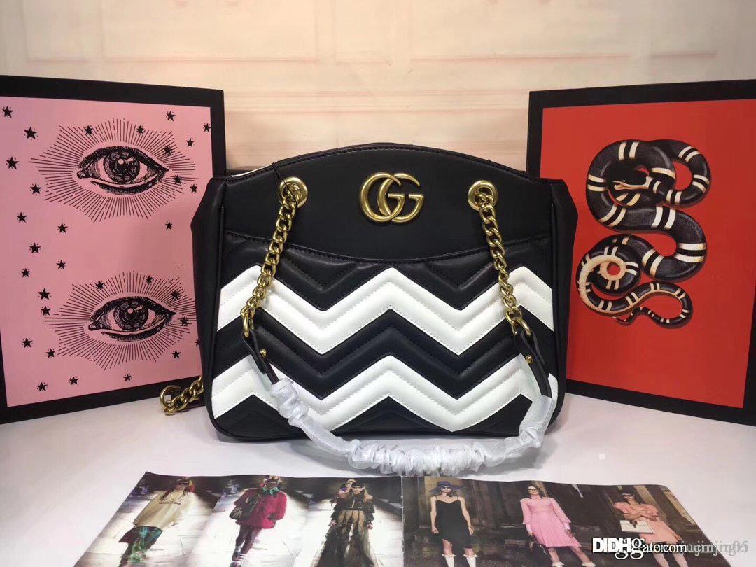 2019GU GG Marmont en cuir noir blanc Tote 443501 Sac à bandoulière en cuir Matériel d'or Noir Taille: 29 * 24 * 8cm