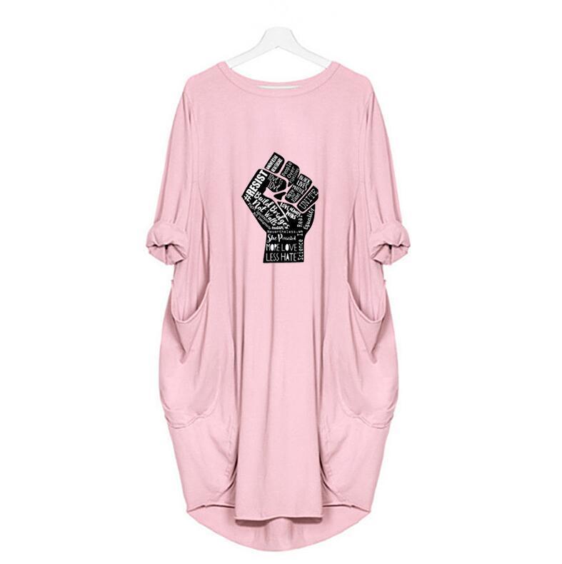 흑인 생활 물질 2020 여성 드레스 긴 소매 티셔츠 드레스 봄 여름 캐주얼 라운드 넥 포켓 느슨한 플러스 사이즈 5xl 옵션