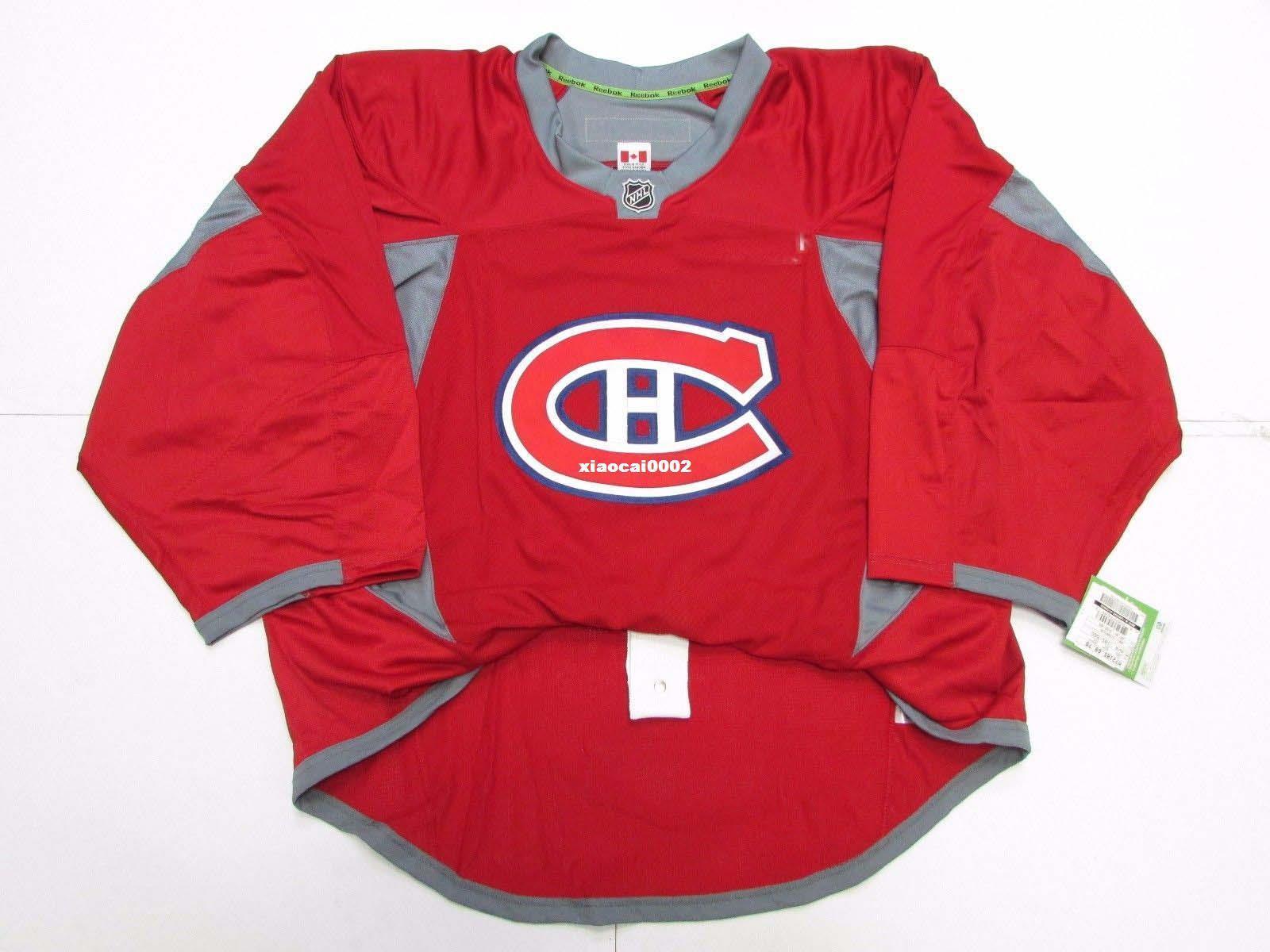 رخيصة مخصصة مونتريال CANADIENS منزل أصيل RED EDGE PRACTICE JERSEY حارس المرمى CUT 56 رجل مخيط شخصية هوكي البلوزات