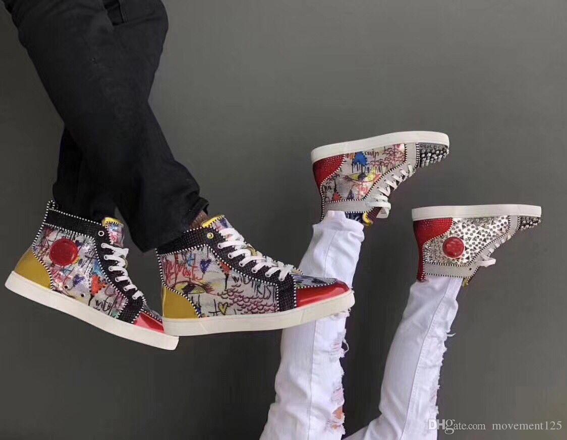 Men, Women Kaykay Tasarımcı Parti Düğün Ayakkabı AB için Şık Boncuk Graffiti Yüksek üst Kırmızı Dip Spor ayakkabılar Ayakkabı: 35-47