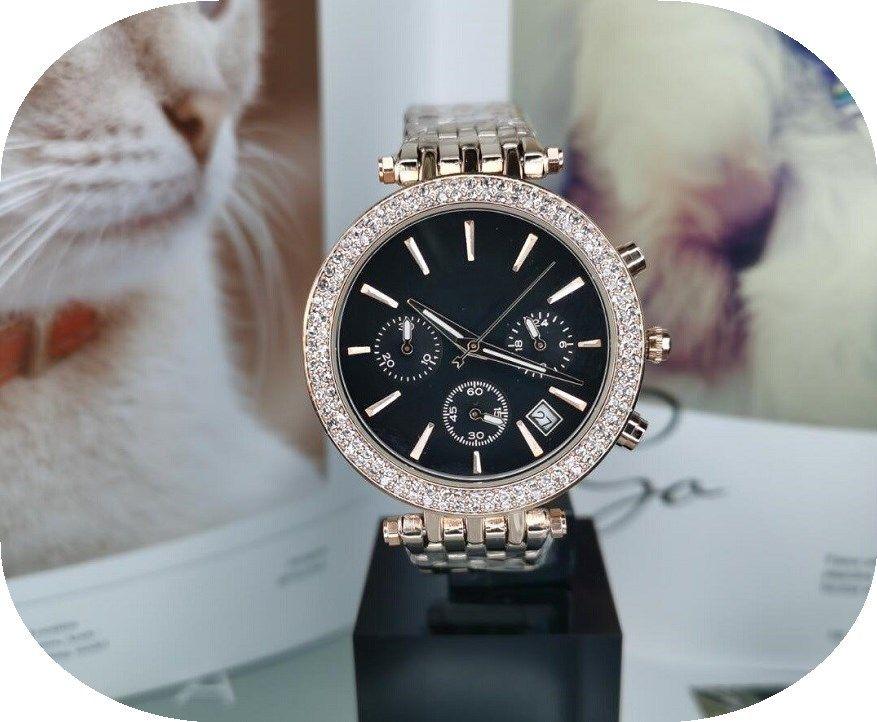 Multis hommes fonctionnels et montre la mode féminine mode élégante montre des femmes a augmenté l'horloge Quart de marque femmes montre en acier inoxydable d'or