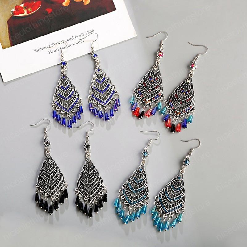 Perline di cristallo etnica goccia dell'acqua ciondola gli orecchini per le donne di Boho epoca geometrica Wedding nappa Orecchini gioielli di moda Brincos