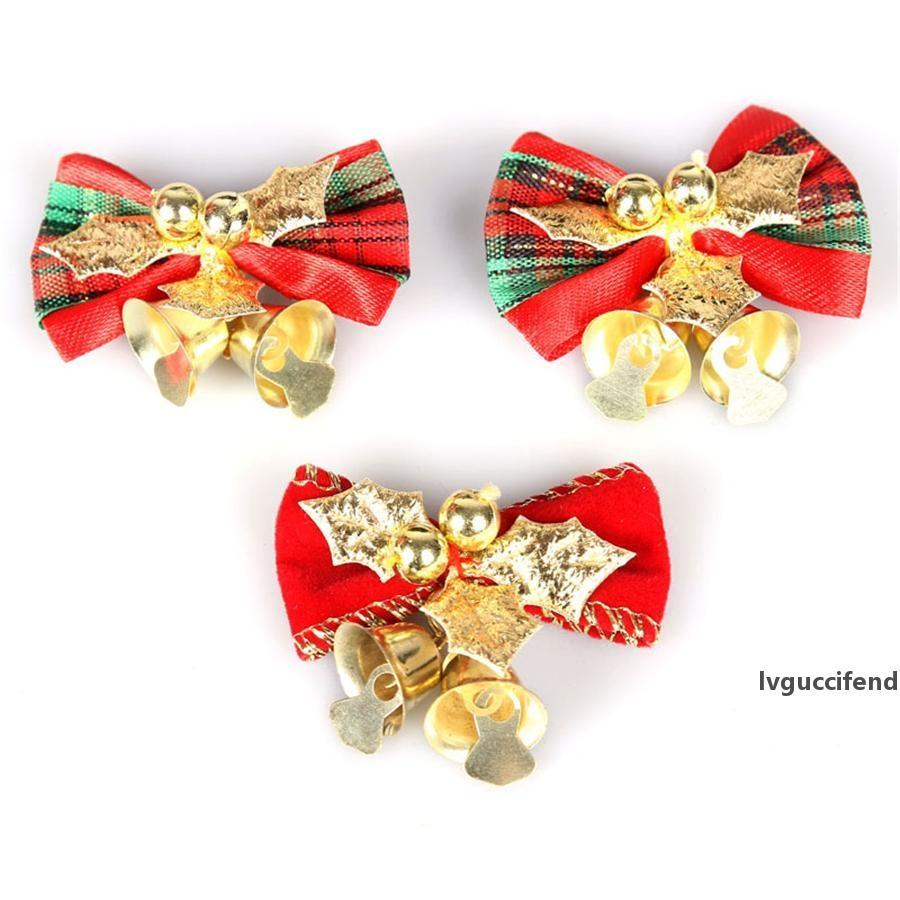 Noël Bow avec clochettes de Noël Arbre de Noël Ornements Pendentif Hanging bowknot Décoration Artisanat Fournitures Party bricolage Décor JK1910