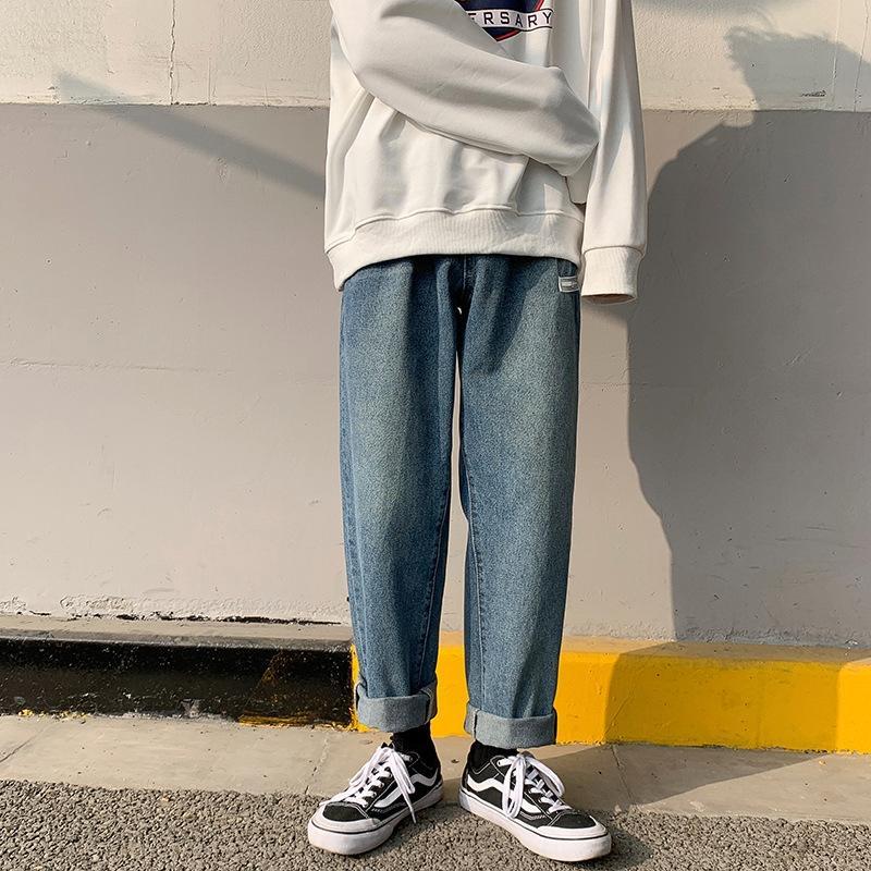 1vvxw verano nuevos pantalones vaqueros ocasionales de los pantalones vaqueros coreanos de los hombres rectos de la marca de moda de los pantalones del todo-fósforo ocasional del estudiante ins estilo suelto trendy largo y