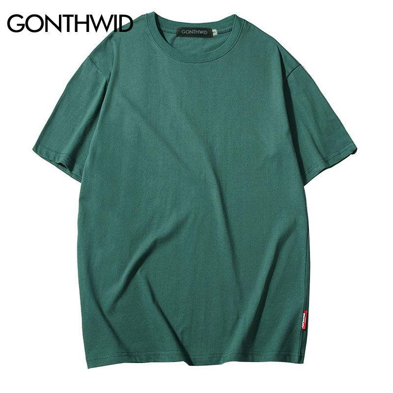 GONTHWID Casual Cotton Solid Tshirts Men Women Hip Hop Crewneck Short Sleeve Blank Streetwear Tops Tees Summer Male T Shirts 3XL T200718