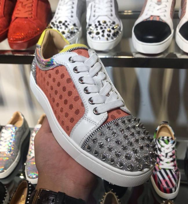 İyi Kalite Kadınlar Erkekler Yeni Kırmızı Alt Ayakkabı Moda AC Vieira Dikenler Orlato Sneakers Günlük Ayakkabılar Deri Klasik Boş Flats Mesh