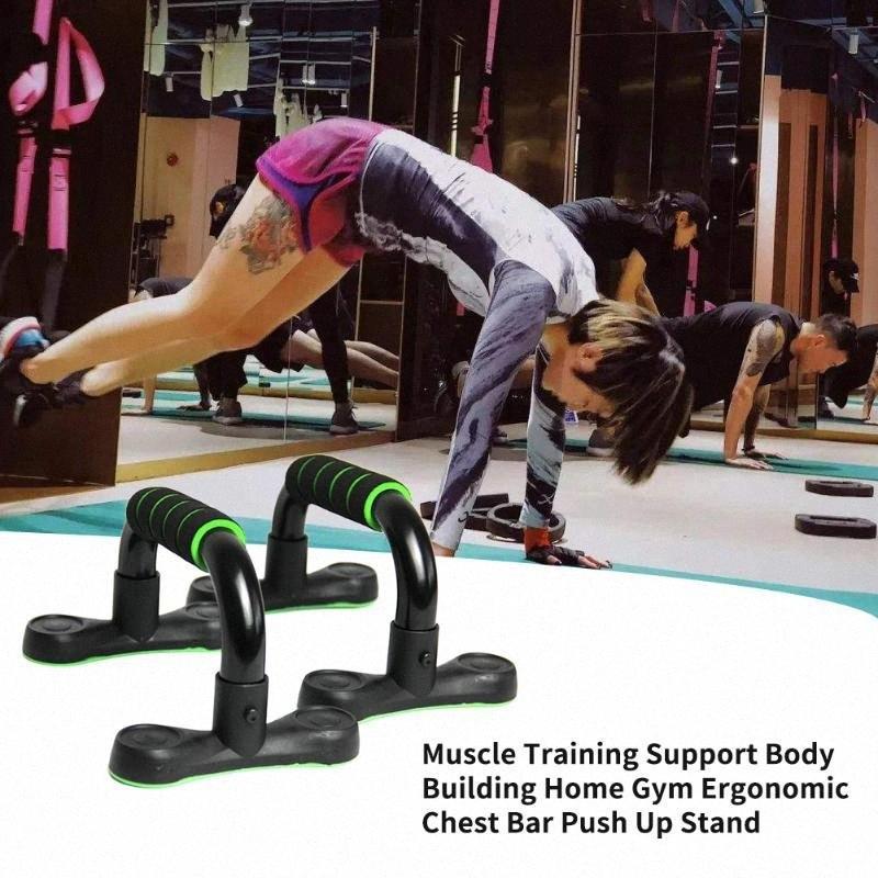 Ispessita ergonomico Home Gym antiscivolo I Shaped Fitness Body Building Attrezzature aiuti Supporto Muscle Training Bar Push Up stand tUWr #