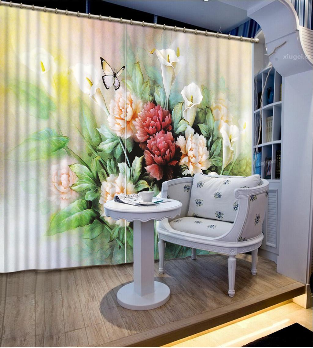3D Durtains Jade sculpté fleurs papillon 3D Blackout rideau pour le salon de chambre Accueil Fenêtre Décoration