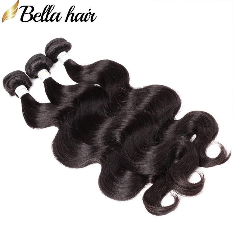 Brazylijski Body Wave Virgin Human Włosy Wyplata Wiązki 3 sztuk / partia Natural Color 9a Hair Extensions DHL Szybka Darmowa Wysyłka Bellahair
