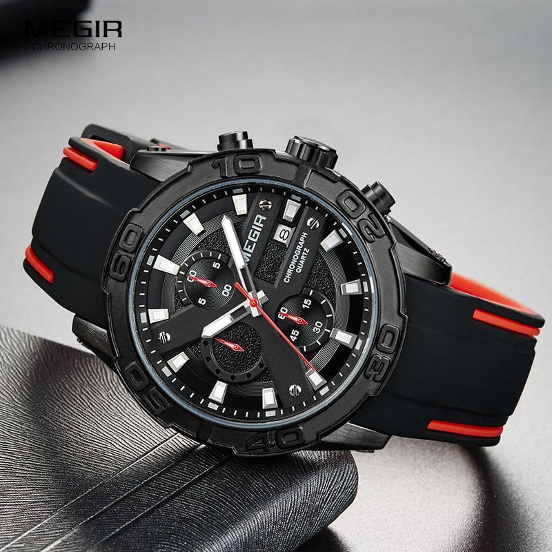MEGIR Men's Fashion Sports Quartz Watches Luminous Silicone Strap Chronograph Analogue Wrist Watch for Man Black Red 2055G-BK-1 T200723