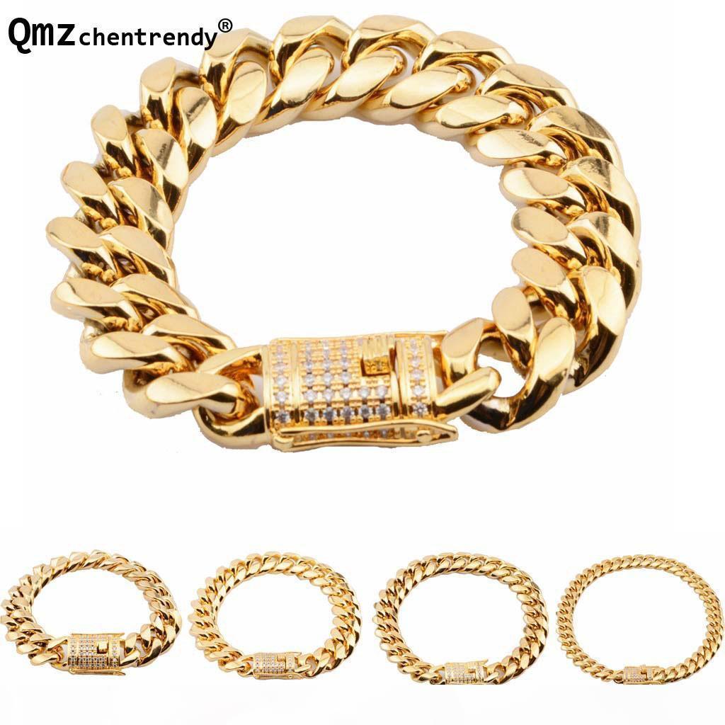 Top qualité en acier inoxydable Curb Miami Cuban Chain CZ Bracelets Hommes Hip hop dragon strass fermoir Bangle 8 10 12 14 16 18mm Bijoux
