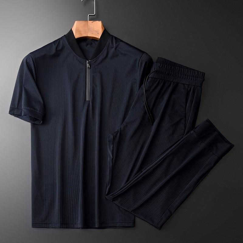 Minglu été Ensembles pour hommes (t-shirt + pantalon) de haute qualité pied de col à manches courtes Homme Survêtement Taille Plus 4XL Ensembles Man Slim Stripe