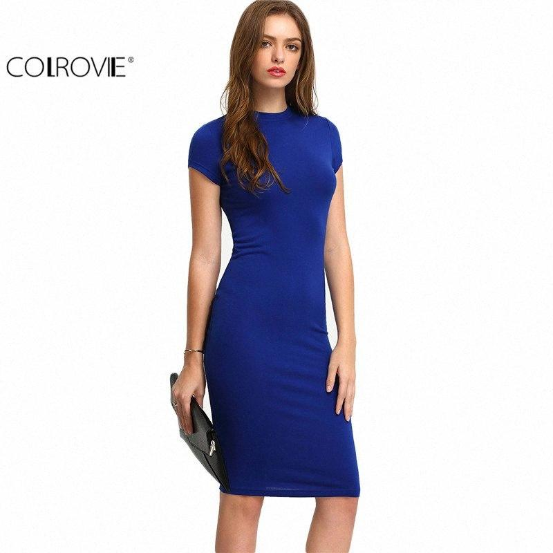 COLROVIE Summer Office New Arrival Women's Bodycon Dresses Sexy Short Sleeve Crew Necl Work Knee Length Dress LiLz#