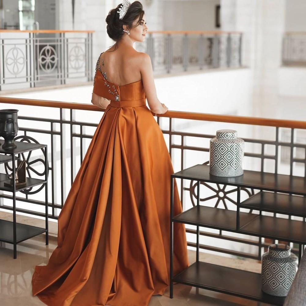 Elegant One Sheer Formal Evening Dresses with Long sleeves Rhinestone Ruched Satin A Line Bride Party Formal Vestidos De Novia