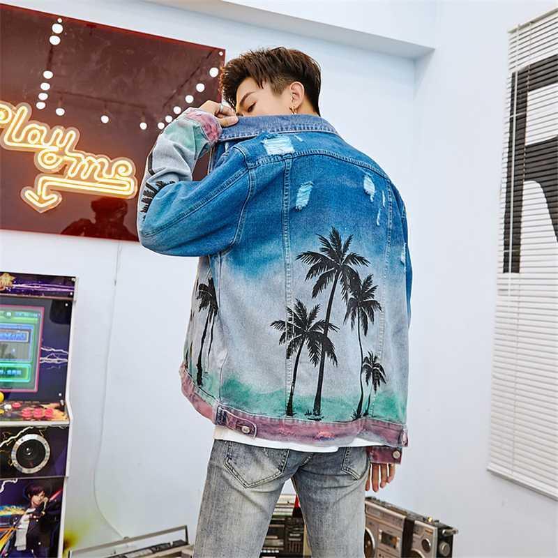 Мужские куртки осень 2021 повседневные кокосовые дерево узор джинсы куртка мужчины
