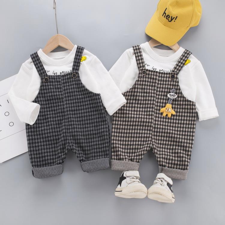 2020 Automne Ensemble tout-petits garçons Blanc Pull + Suspander Pantalons Ensembles pour enfants Mode Vêtements pour enfants Costume