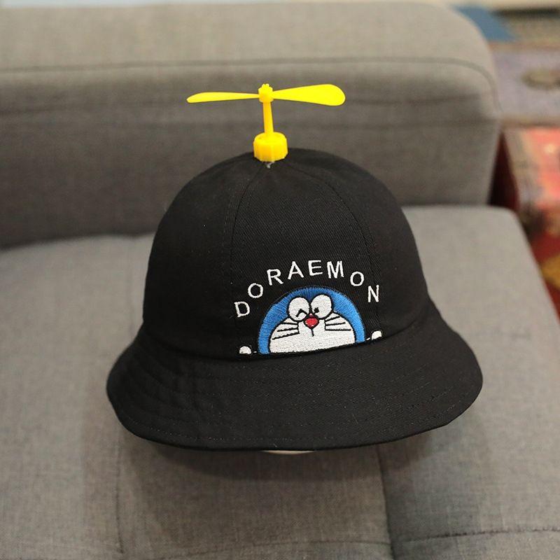 Children's bucket bucket autumn baby bamboo dragonfly fisherman hat sun hat thin windmill Doraemon cat