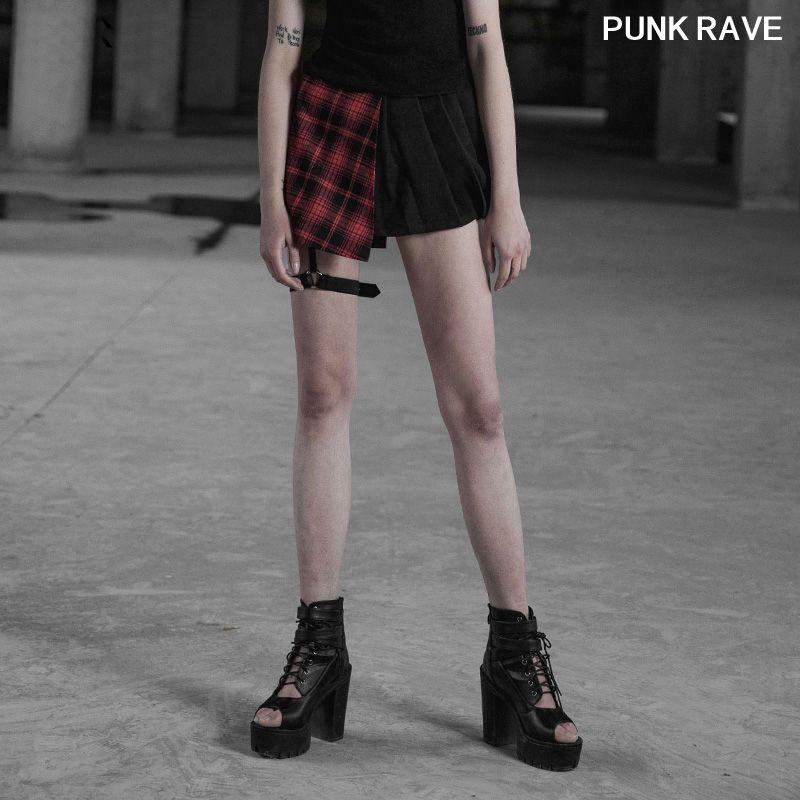 Punk Kafes malzemesi Asimetrik Tasarım Yaşa azaltılmış Yarım Etek moda klasik seksi güzel Pileli PUNK RAVE OPQ-322BQF etek