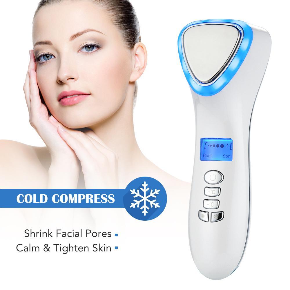 Ultrasonic crioterapia enfrentam levantamento Hot Fria Electric Hammer anti envelhecimento rejuvenescimento da pele Dispositivo de aperto Spa Massager Facial