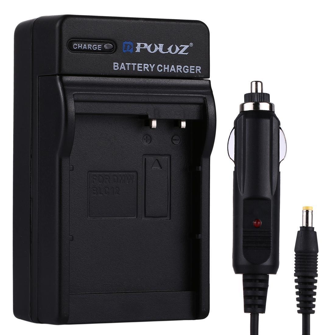 PULUZ Digitalkamera Akku Auto-Ladegerät für Panasonic DMW-BLC12 Batterie