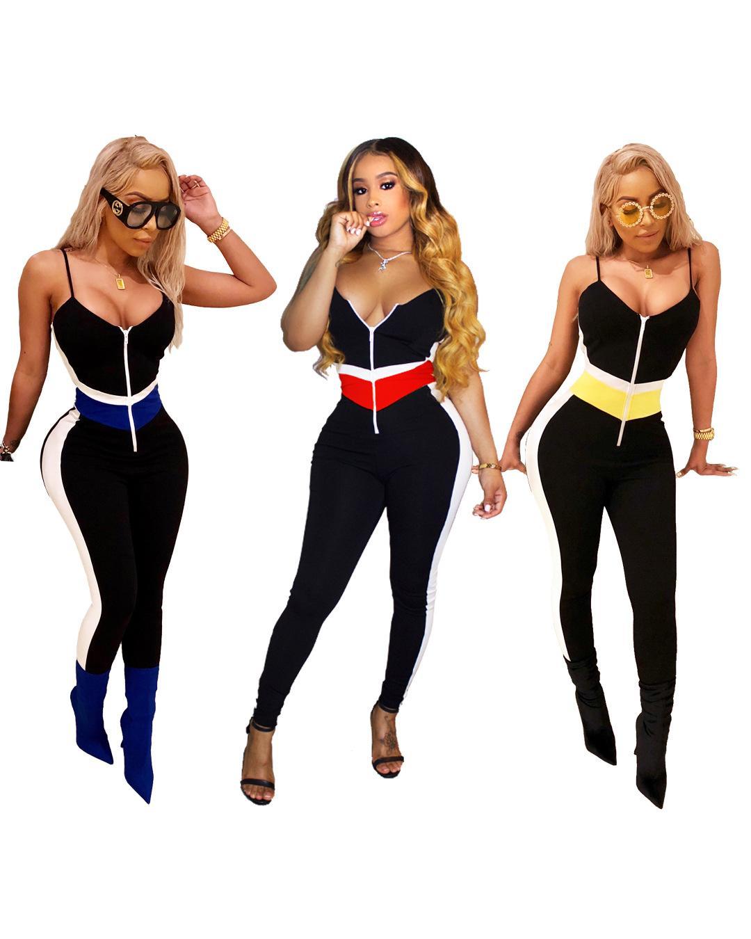2020 New roupas baratas China atacado europeus e americanos Mulheres Jumpsuits macacãozinho Sexy dois tons costura suspender jumpsuit