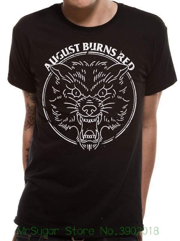 Cid Uomini August Burns Red - Wolf T-shirt nera Piccolo nuovissimo Harajuku divertente Rick Tee Shirts