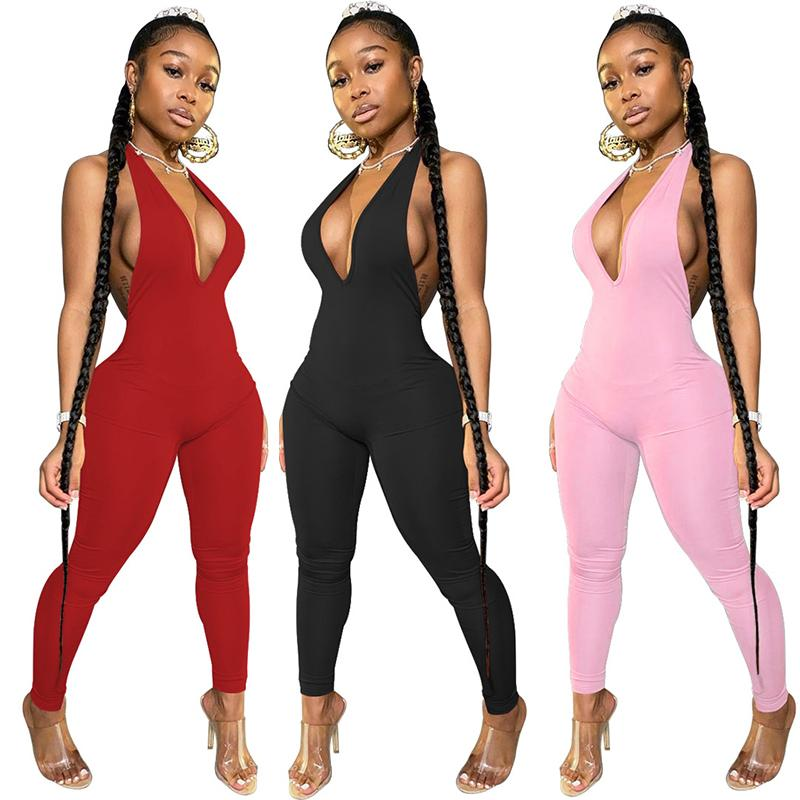 Women Jumpsuits Sexy V Neck Rompers Ladies Backless Playsuit High Waist Pants Trousers Female Skinny Jumpsuit 050731