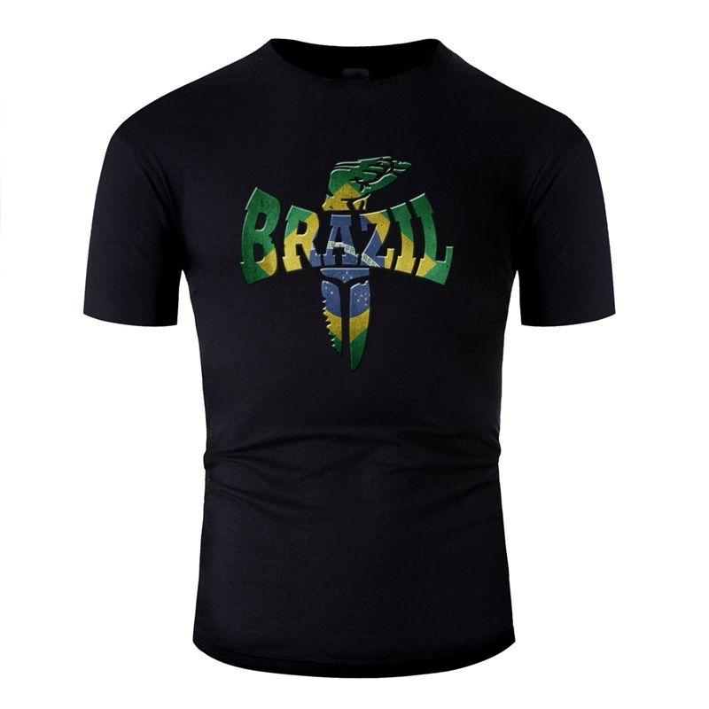 Personalisierte Brasilien Sunlight T-Shirt für Männer Humor Letters Comic Männer T Shirts uni Rundhals T-Shirt Basic-Fest