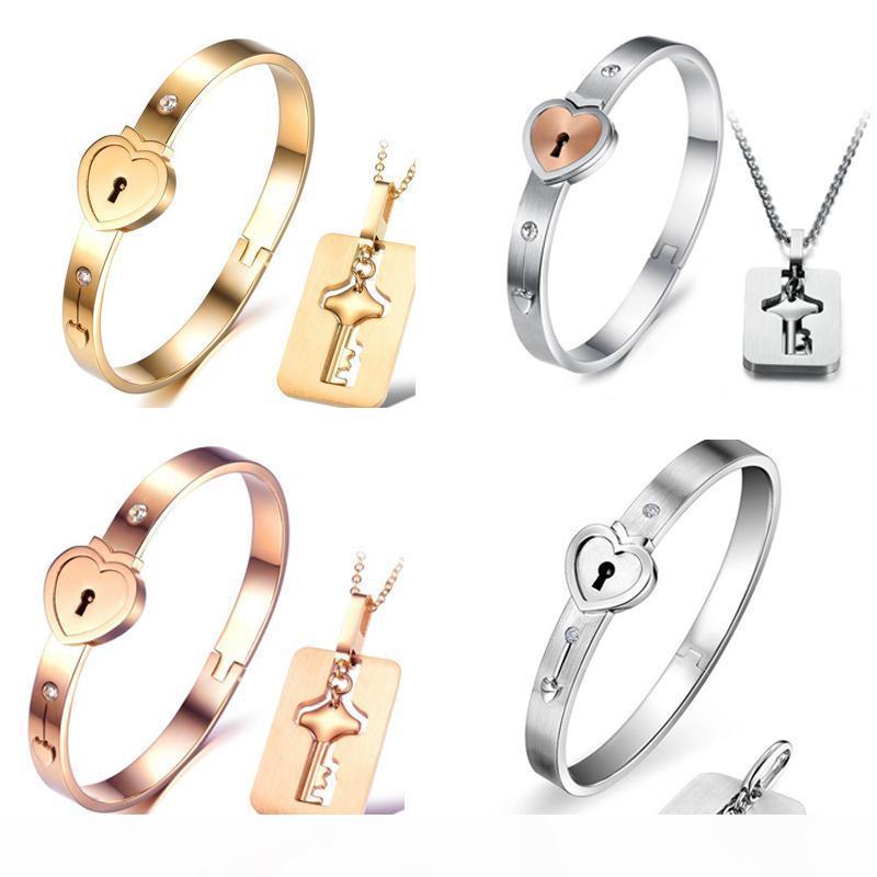 2018 Nueva titanio acero pulsera collar de sistemas de la joyería de rosa amantes de la moda brazalete de oro de collares regalo de cumpleaños