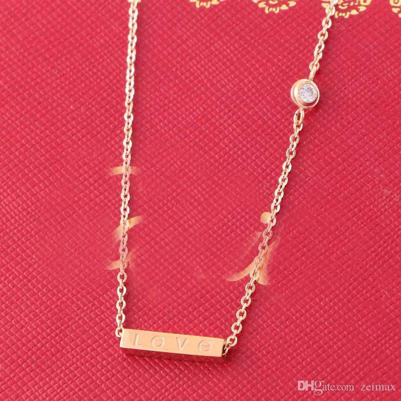 Ciondolo Piazza AMORE con Singel diamante della CZ Rose collana di colore per il collare dell'annata delle donne dei monili di costume con il cofanetto originale
