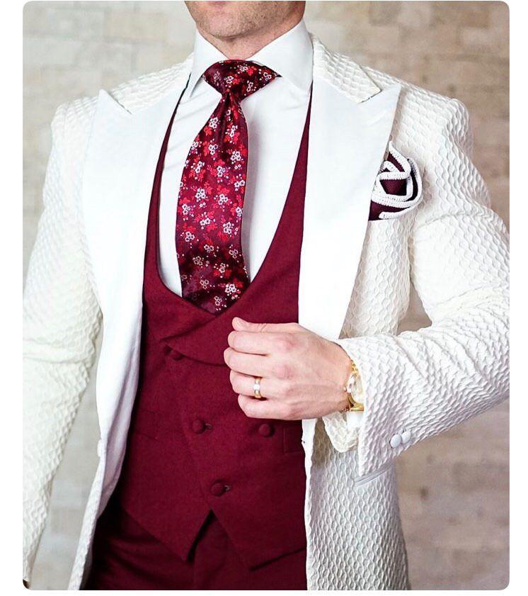 Özel yapım Çember kabartma Groomsmen Tepe Yaka Damat smokin Erkekler Suits Düğün / Gelinlik / Akşam Sağdıç Blazer (Ceket + Pantolon + Kravat + Yelek) W270