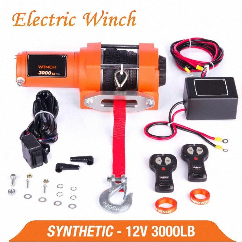 winch car 12v remote control set electric winch 3000lb heavy duty ATV trailer high strength nylon rope electric IdWs#