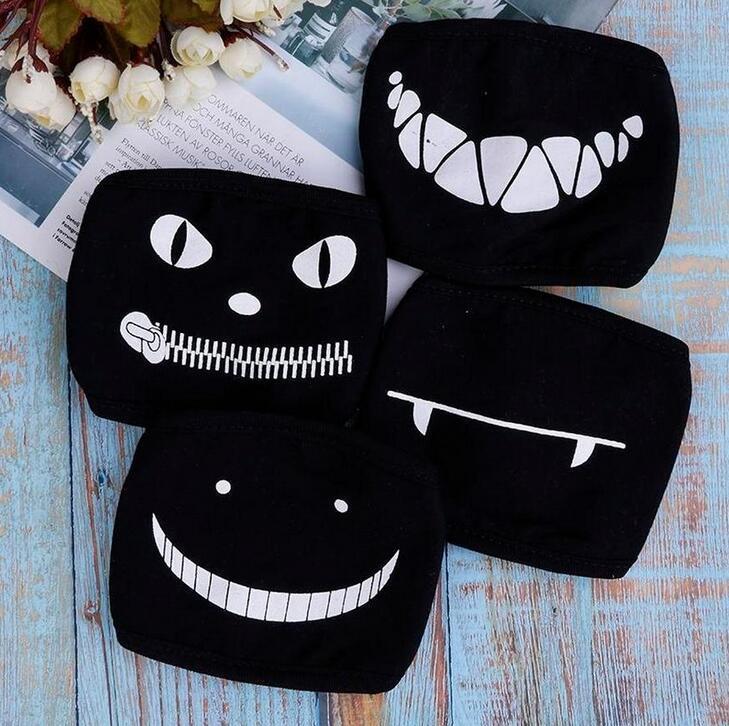 DHL Gemi Güzel Siyah Anime Çizgi Kpop Şanslı Ayı Unisex Kül Yüz Ağız Maskeleri Kawaii Pamuk toz geçirmez Ağız Yüz Maskesi