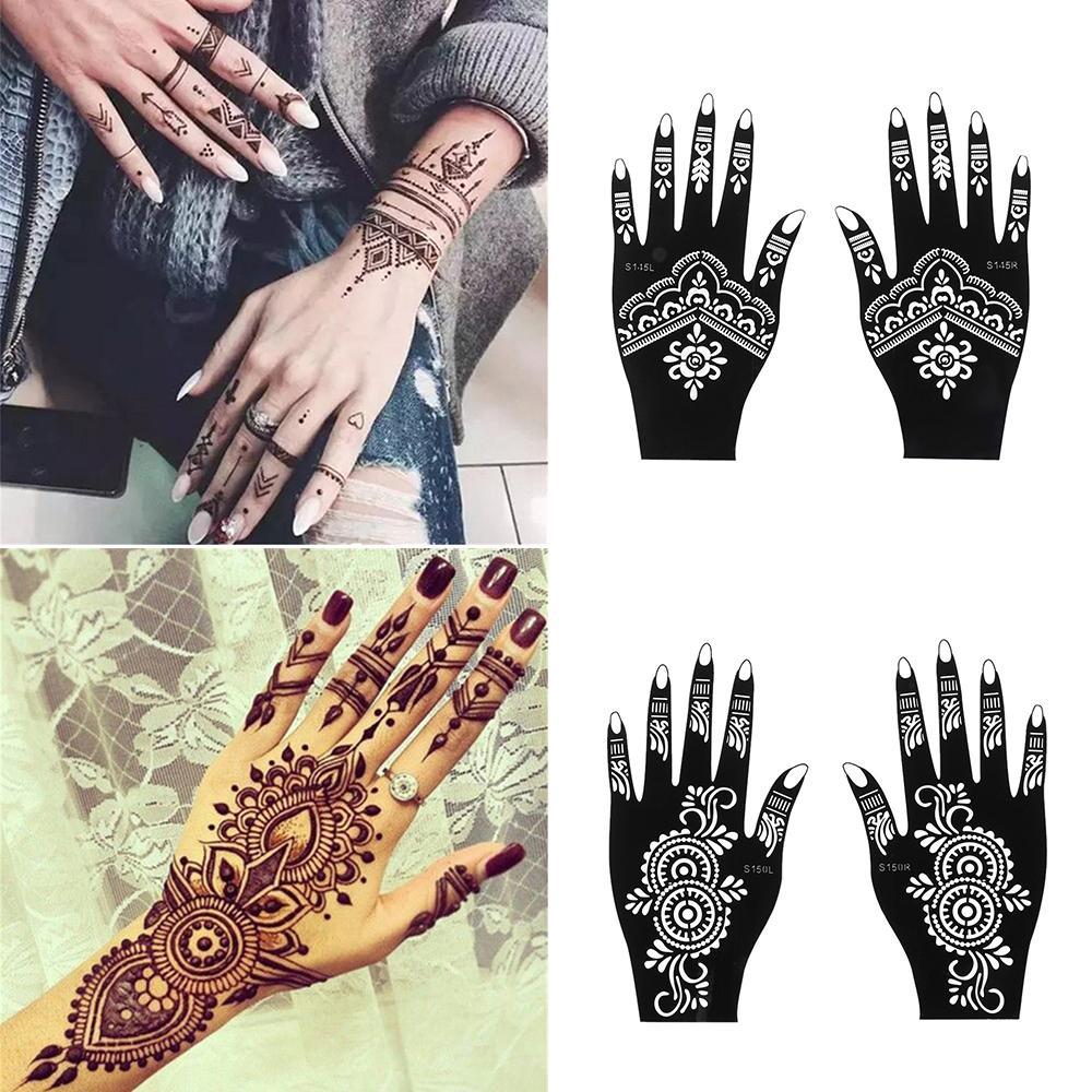 Fashion Henna Tattoo Stencil Temporary Hand Tattoos DIY Body Art Paint Sticker Template Indian Wedding Painting Kit Tools T200730