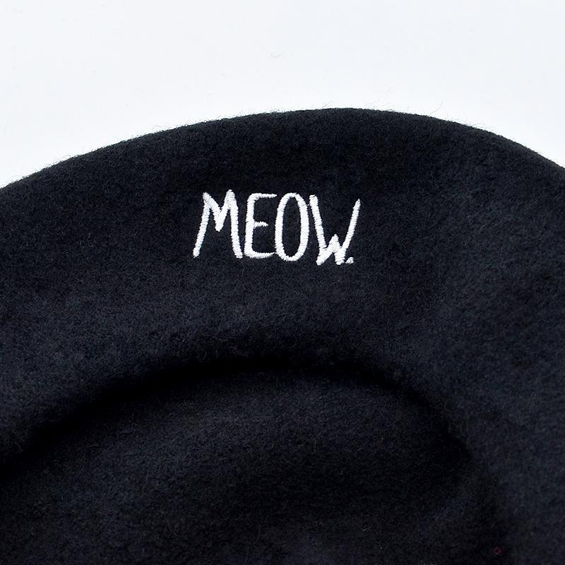 Korean new letter embroidery cat ear Embroidered woolen beret painter's hat cute woolen beret