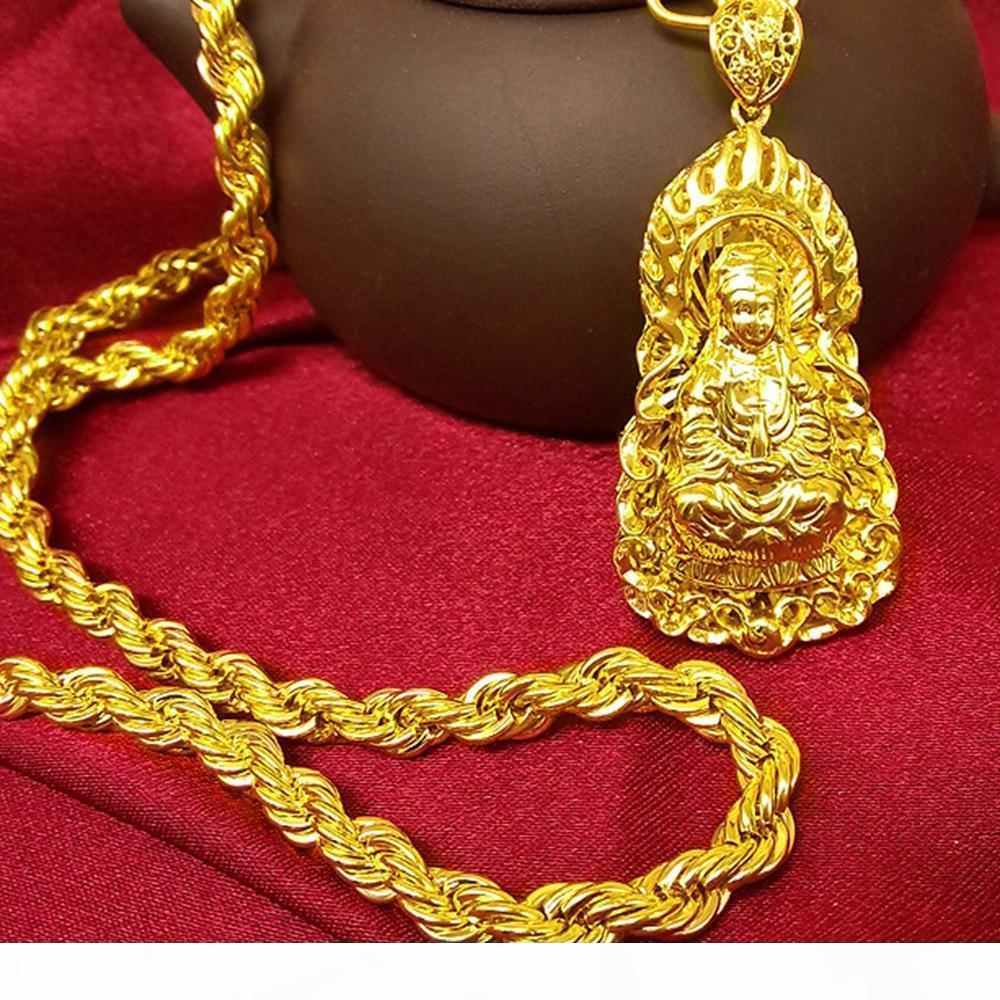 18k amarillo de la vendimia oro llenado de cadena colgante de Buda collar trenzado creencias budistas collar Hombres Mujeres clásica del regalo del estilo