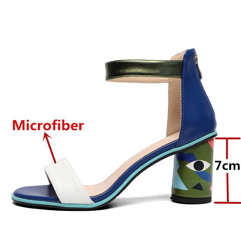 Fedonas 2020 scarpe da sposa Donne Stampe festa piena estate in microfibra Sexy Woman Peep Toe Pumps talloni sandali nuovi CX200715