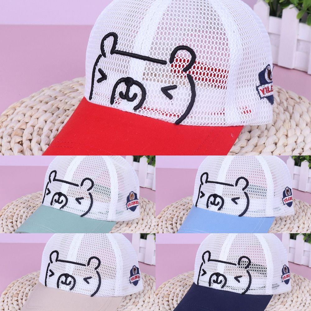 Çocuk yaz yeni örgü işlemeli beyzbol şapkası, net beyzbol şapkası, net ayı sevimli örgü nefes kap erkek ve kız güneş koruması
