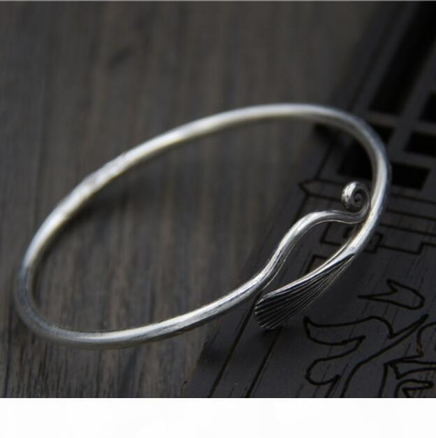 Me joyería de lujo S999 plata esterlina pulseras abierto simple brazaletes para las mujeres libera clásico caliente de la manera de envío