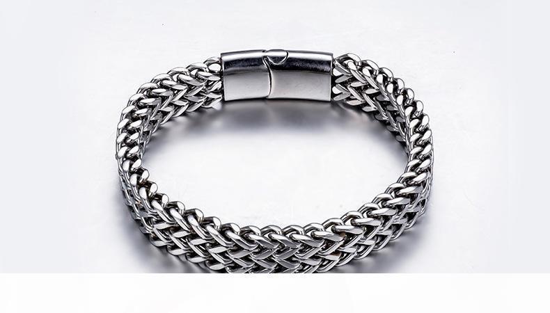 Hombres K '; S acero inoxidable trenza doble fila y joyería Volver quilla corchete del imán de titanio pulsera de acero
