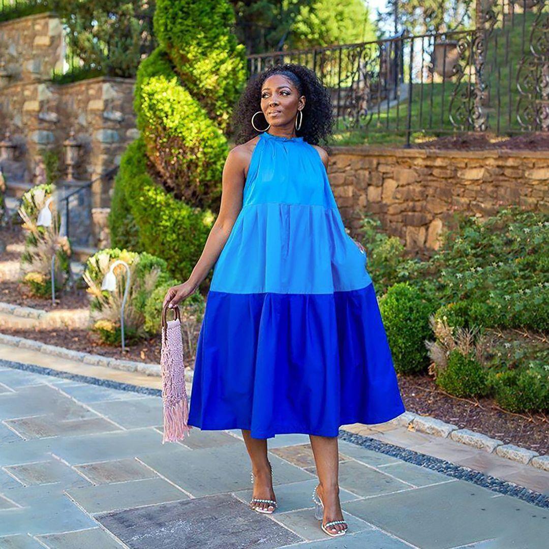 المرأة عادية شاطئ فستان ماكسي صيف بلا أكمام اللون على النقيض من الترقيع فضفاض قميص اللباس الأنيق حزب اللباس
