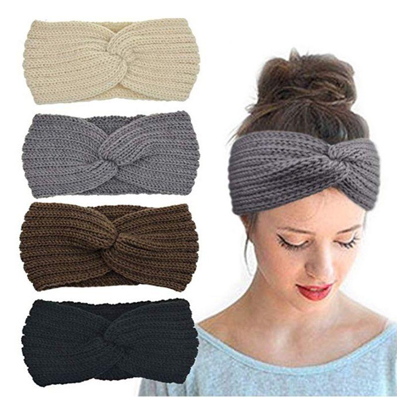 Winter-Ohr-Wärmer-Stirnband-Frauen arbeiten elastische Wolle gestrickte Stirnband-Kopf-Verpackungs Haarband Mädchen elegantes Haar-Band-Zubehör