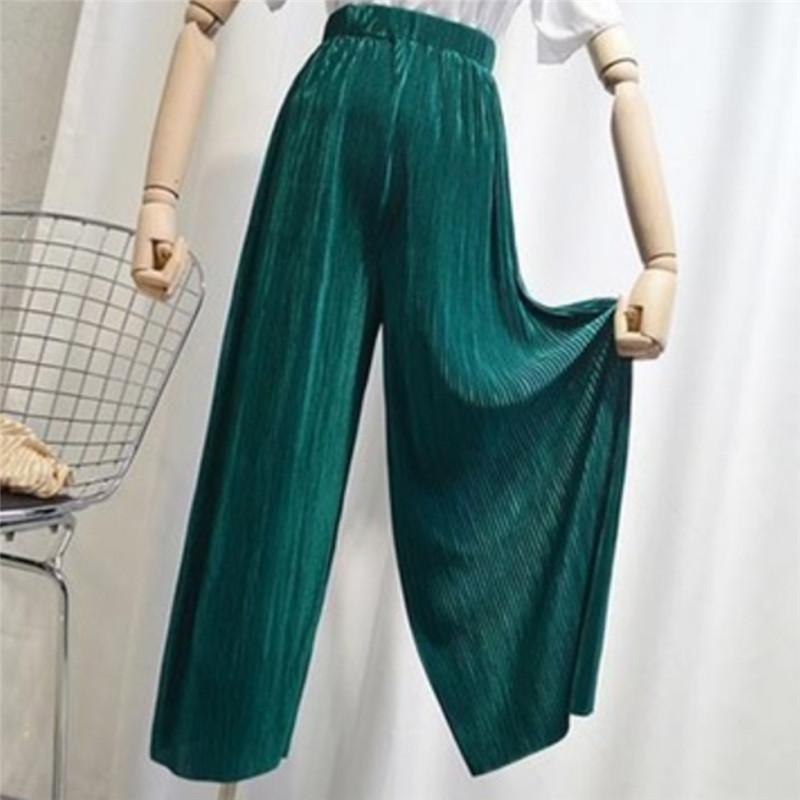 2020 verão nova moda feminina alta Vintage cintura calças perna larga Mulheres Full-length solto fina e macia plissadas Calças das senhoras